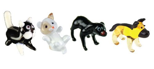 Looking Glass Miniature Collectible - Kitty Cat/Kitten/Labrador/Doberman (4-Pack)