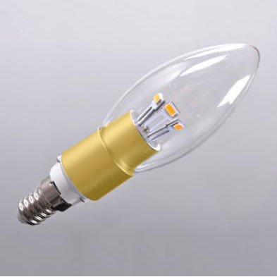 Crystalplace Golden Led Lightbulb 3 Watt Clear Dimmable Candelabra Base Straight Tip Warm Soft Light 2700K E12 120 Volt, Brightest 40 Watt Bulb Replacement
