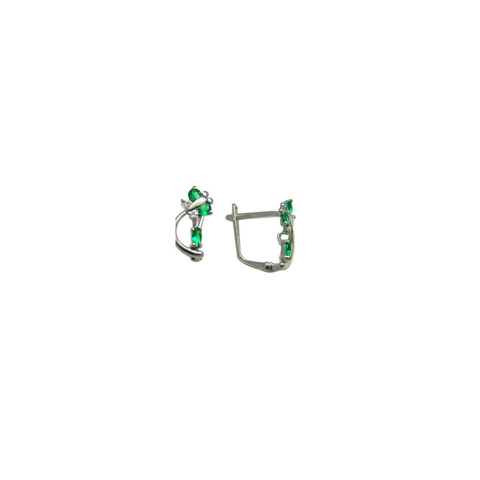 Emerald Green   Spring Time Butterfly 14k White Gold Huggie Earrings
