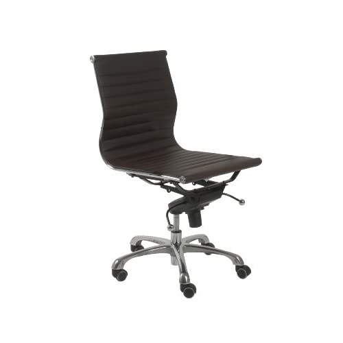 com: ITALMODERN Otto Low Back Office Chair No Arms; Dark Brown//Chrome