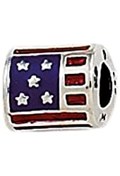 Zable Sterling Silver Use Flag Bead Charm (10 X 9 mm)