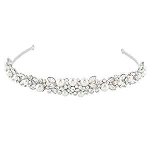 Ever Faith Silver-Tone Crystal Ivory Color Simulated Pearl Wedding Hair Headband Clear N03997-1