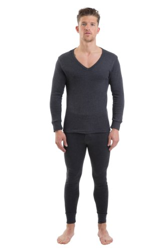 2Cozee Mens Thermal V Neck Long Sleeve Vest & Long Johns Charcoal M front-1042761