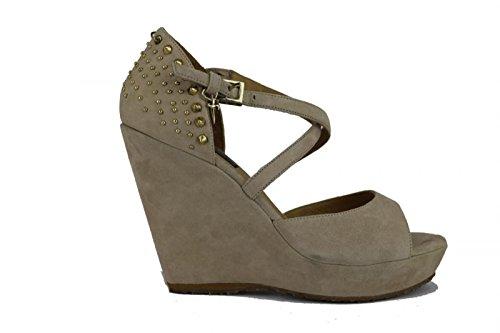 CESARE PACIOTTI sandali donna 39 EU beige camoscio borchie AH648-C
