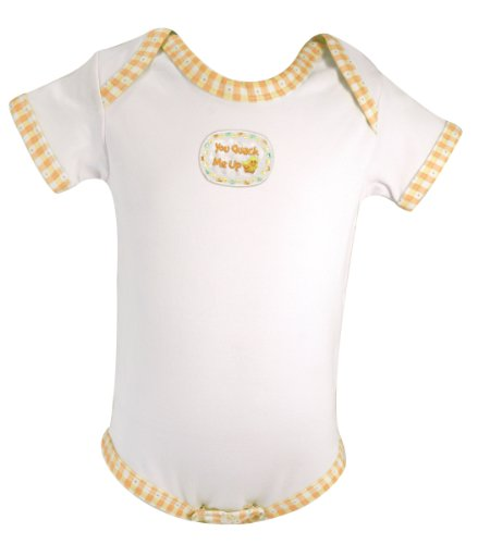 Stephan Baby All-in-One Diaper Cover with Gingham Trim, Just Ducky You Quack Me Up, 6-12 Months