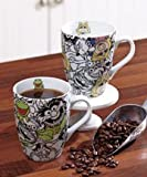 Set of 2 Muppets Miss Piggy and Kermit Coffee Cup Mugs Porcelain 13 Ounces