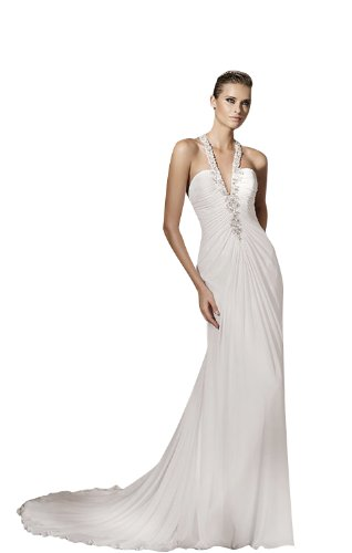 Sheath/Column V-Neck Court Train Chiffon Wedding dress with Draped/Beading