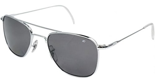 AO Original Pilot Sunglasses, Silver, Wire Spatula, CC Gray Poly Lens, 52mm 30050