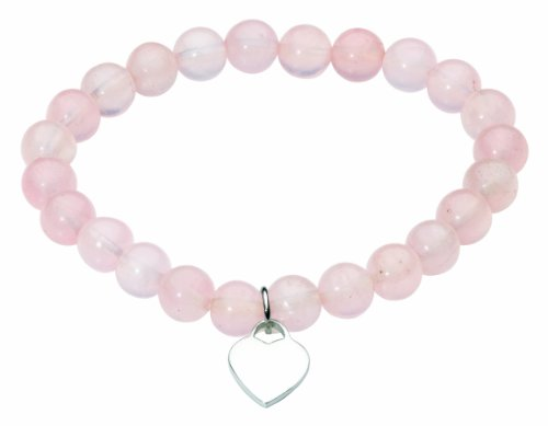 Dew Bracelet Rose Quartz Beads & Silver Plated Heart