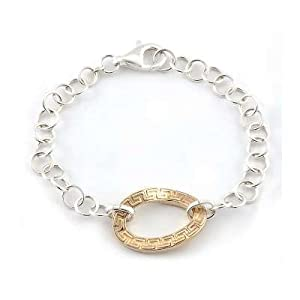 Sterling 925 Silver Circle Link Bracelet with Twisted Gold Plated Greek-Key Designed Centerpiece