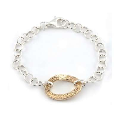 Sterling 925 Silver Circle Link Bracelet with Twisted Gold Plated Greek-Key Designed Centerpiece(WoW !With Purchase Over $50 Receive A Marcrame Bracelet Free)