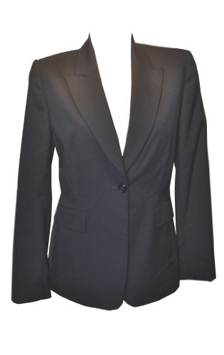 Tahari ASL Womens Blazer Navy Grey Pinstripe Career Wear Jacket Sz 8 Retail $188