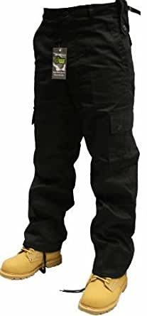 Adults Black or Navy Army Combats Cargo Trousers Sizes 26-50 (28W 32L, Black)
