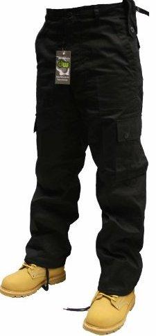 Urban Couture Clothing Herren Militär-Cargohose, Gr. W 30- 50 L 30 und 32, erhältlich in 16 Farben  - Schwarz - Black - 16