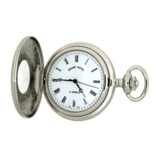 Mount Royal - Chrome Plated Half Hunter Mechanical Pocket Watch - B9M - (WW1747) - 4.4cm diameter x 0.9cm depth