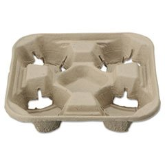 StrongHolder Molded Fiber Cup Tray, 8-22oz, Four Cups kitcox70427htmvapor value kit chinet classic paper dinnerware htmvapor and glad forceflex tall kitchen drawstring bags cox70427