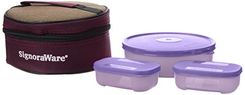 Signoraware Classic Lunch Box Set with Bag, Mauve