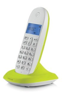 MOTOROLA C1001LBI COLOURFUL CORDLESS PHONE WHITE- LIME LEMON