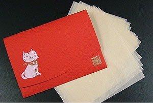 鎌倉四葩のあぶらとり紙 招き猫・赤 短冊サイズ 20枚入