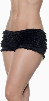 New Sexy Black Lace Ruffle Hot Pant Boy Short Panty S/M