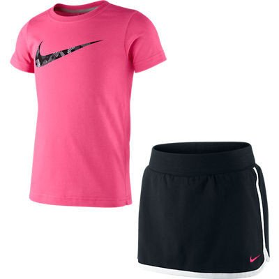 Nike Girls Tennis Slam Knit Kit - Tennis Tee & Skort - Little Girls Extra Small (Ages 3-4 Years)