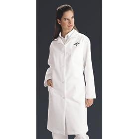 Medline Ladies Lab Coat W/ Back-Belt - White, medium - Model MDT13WHT2E