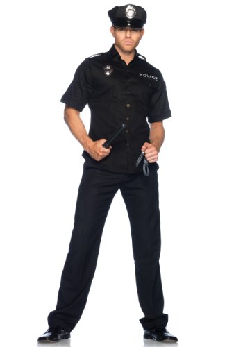 Leg Avenue Mens Police Officer Black Theme Party Fancy Costume