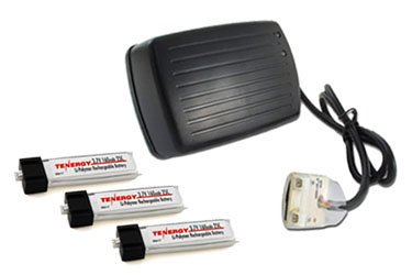 Combo: Tenergy Wall charger for 3.7V MCX batteries + 3pcs Tenergy 3.7V 160mAh 25C LIPO Batteries for Micro Helicopters