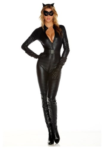 Forplay Fierce Feline Ears, Mas, Jumpsuit, Belt, Gloves, Black, Small/Medium