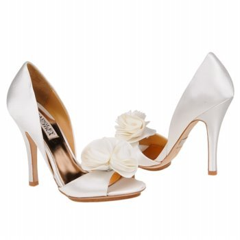 Badgley Mischka Women's Randall Open-Toe Pump,White Satin,6 M US
