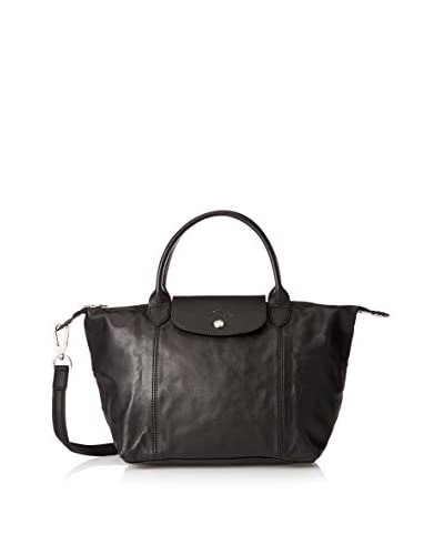 Longchamp Women's Le Pliage Cuir Sac Porté Main Top Handle Bag, Black, One Size