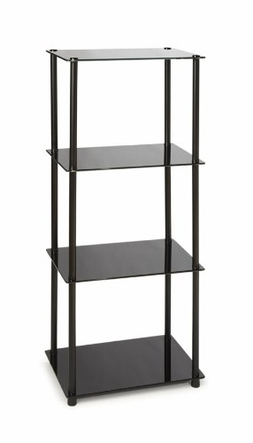 Convenience Concepts Designs2Go Midnight Classic 4-Tier Glass Tower, Black Glass (Glass Shelves Tier compare prices)