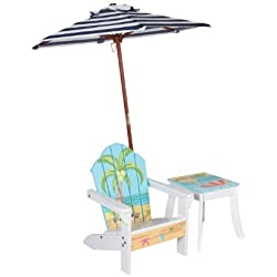 Winland - Outdoor Table and Adirondack Chair Set with Unbrella - Plam Tree