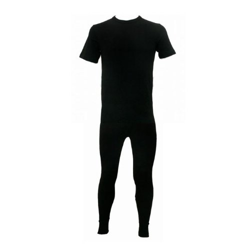 Larger Size: Mens Thermal Underwear Set, Short Sleeve T-Shirt Top & Bottoms (3X, 4X, 5X)