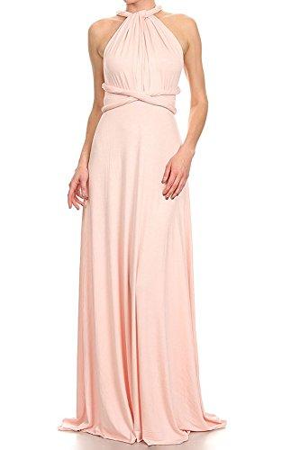 12 Ami Solid Convertible Multi Way Long Maxi Dress Blush Large