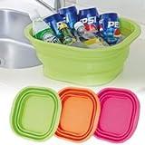 たためるシリコン洗い桶 (グリーン)