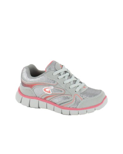 Dream Seek Girl's Little Kid Streak4 Grey/Coral Sneaker - 11 M US Little Kid