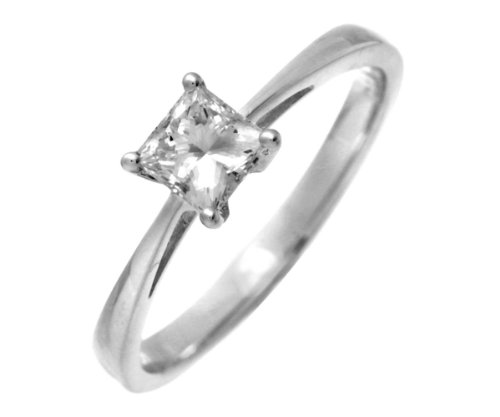 18ct White Gold 1/2 Carat Certified J/I Princess Cut Diamond Engagement Ring - Size P