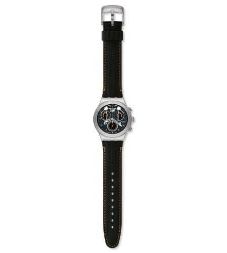 Swatch Mens Fine Steel Black Dial and Strap Watch