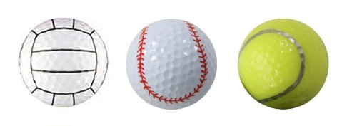 Assorted Designed Golf Balls (Tennis, Baseball, Volleyball) - 3 balls in a box - 1