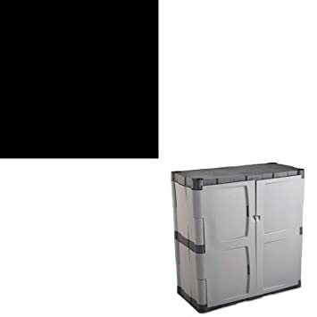 KITHONS42ABCPRUB7085 - Value Kit - Rubbermaid Double-Door Storage Cabinet - Base (RUB7085) and The HON Company HON Brigade 3-Shelf Steel Bookcase, Black (HONS42ABCP)