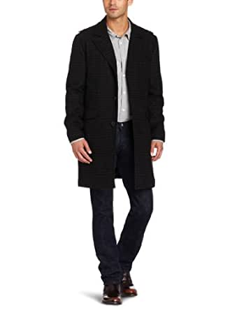 Kenneth Cole Men's Plaid Wool Walker Outerwear Jacket, Charcoal Plaid, Medium