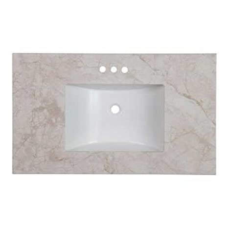 Stone Effects 37 inch Bathroom Vanity Top in Dune with Diamond Shield Coating and a White Basin