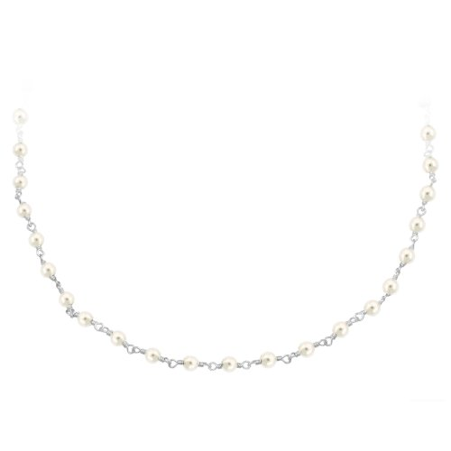 Sterling Silver Freshwater Pearl Rosary Bead Necklace, 18