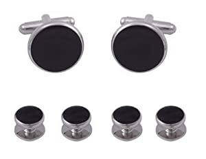 Gift Box Set Cufflinks and Studs Set For Tuxedo- Black Formal with Stainless Steel Trimming