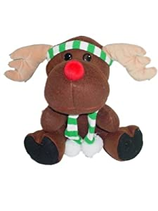 Plush Christmas Moose Or Reindeer with Red Nose and Green and White Scarf Stuffed Toy