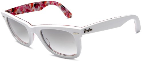 Ray Ban Rb2140 Original Wayfarer White On Flowers (Rare Prints Flowers) Frame/Grey Gradient Lens Plastic Sunglasses, 50mm