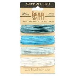 Natural Hemp Twine Bead Cord 1mm Four Aqua Shades 30 Feet Each