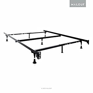 STRUCTURES Heavy Duty 7-Leg Adjustable Metal Bed Frame with Center Support and Glides Only - (Queen - Full XL - Full - Twin XL - Twin)