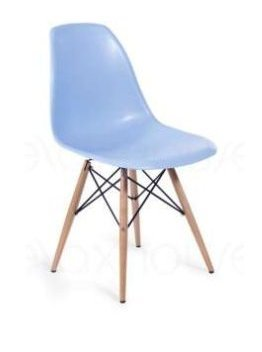 Molded Plastic Side Chairs with Dowel Legs Blue